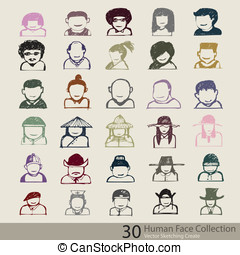 Abstract of human face collection, vector sketching create