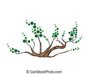 Abstract of Isometric Green Tree and Plant