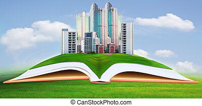 abstract of modern building on green grass field with blue...