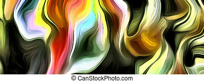 Abstract of multi colors and lines. 3D rendering.
