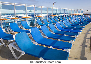 Abstract of Passenger Cruise Ship Deck and Chairs