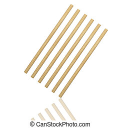 Abstract of round wood stick isolated on white background