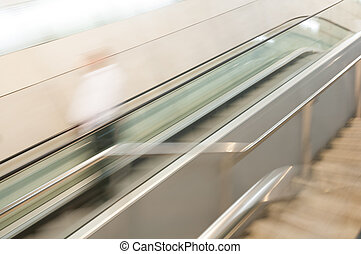 Abstract of the escalator in motion.