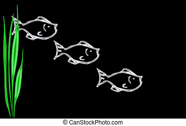 Abstract of three fish swimming isolated on a black background