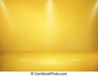 Abstract of wide golden studio metal texture background with lights presentation.