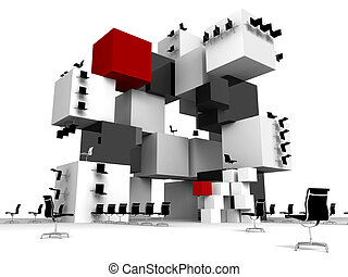 Abstract office from black and white cubes