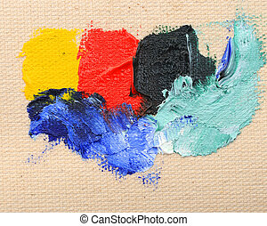 Abstract oil hand painted background over canvas