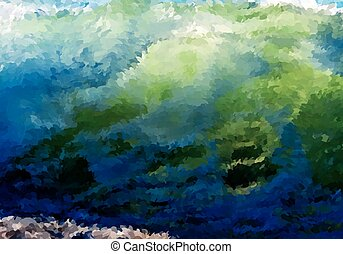 Abstract oil painted big wave
