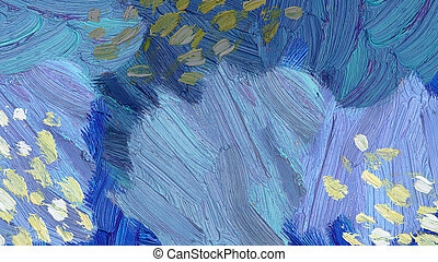 Hand painted impressionistic oil painting background in a blue color range