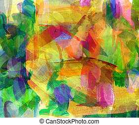 Abstract oil painting. Freehand drawing