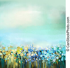 Abstract oil painting of flowers plant