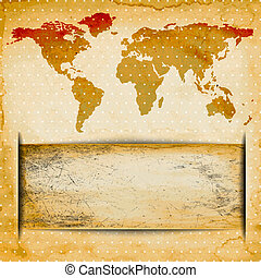 Abstract Old grungy paper and world map background with texture, space for your text