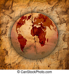 Abstract Old grungy paper and world map background with...
