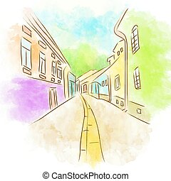 Abstract Old Town Street - Illustration of Abstract Old Town...