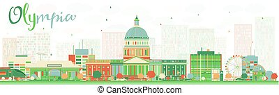 Abstract Olympia (Washington) Skyline with Color Buildings.