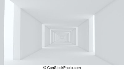 Abstract on white backdrop. Abstract geometric shape. Urban modern design. Abstract light corridor. White background. Home house interior design. Space tunnel.