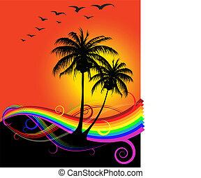 abstract, ondergaande zon , op het strand, met, regenboog