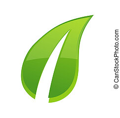 abstract one leaf sign green color isolated