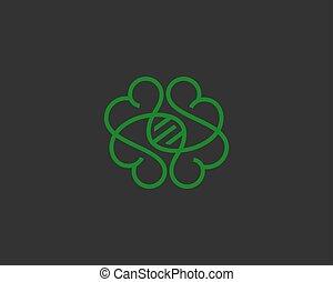 Abstract one line brain logo icon minimal style illustration. Gradient vector emblem sign symbol logo
