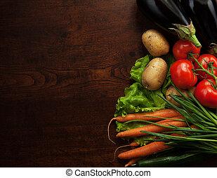 abstract ontwerp, achtergrond, groentes, op, een, houten,...
