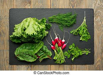 abstract ontwerp, achtergrond, groentes, op, een, houten