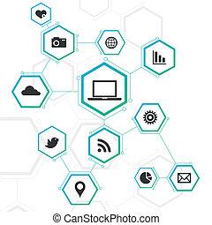 abstract ontwerp, netwerk, iconen