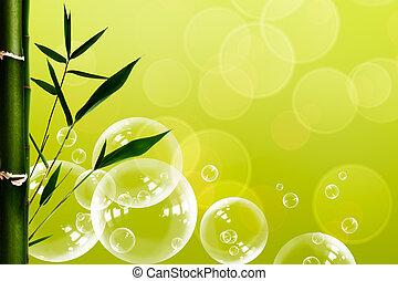 abstract, oosters, spa, achtergronden, met, bamboe, en, waterbellen
