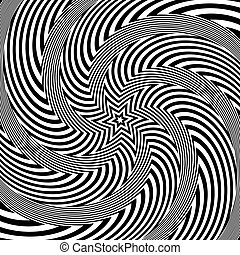 Abstract op art design. Illusion of rotation, torsion and...