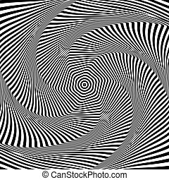 Abstract op art design. Illusion of torsion movement. -...