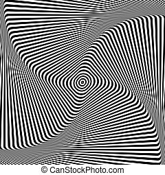 Abstract op art design. Illusion of torsion movement. Vector...