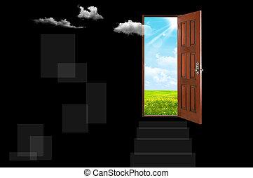 Open door in night