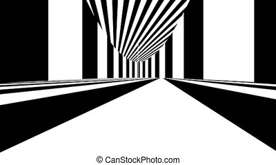 Abstract optical art. Black and white lines. Seamless loop.