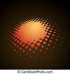 Abstract orange 3D halftone vector background.