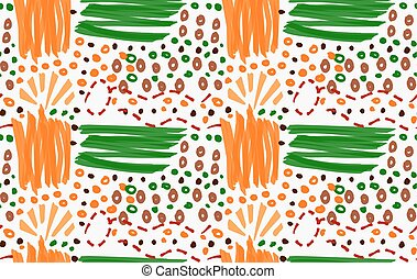 Abstract orange and green strokes with circles