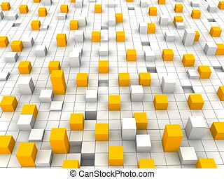Abstract orange and white blocks background. 3d rendered illustration.