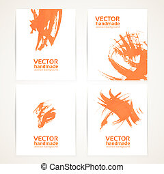 Abstract orange and white brush texture handdrawing on banner set 2