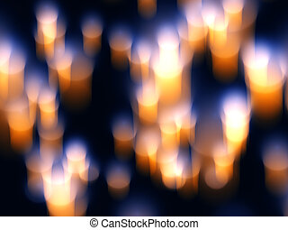 Abstract orange and yellow candle light  in  blue background