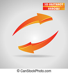 abstract orange arrows 3d vector