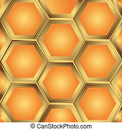 Abstract orange background about honeycombs (vector)