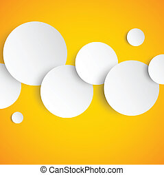 Abstract orange background with paper circles