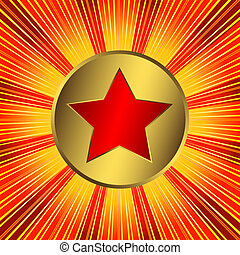 Abstract orange background with red star (vector)