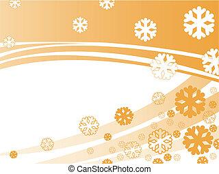 orange background with snowflakes