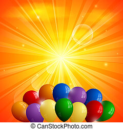 Abstract orange background with sun and balloons