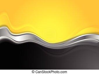 Abstract orange black background with metallic wave