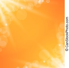Illustration abstract orange bright background with sun light rays - vector