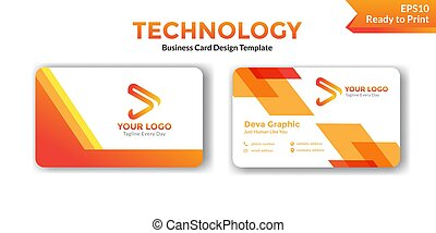 Abstract orange business card design template