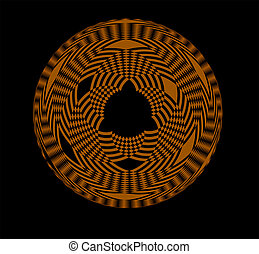 Abstract orange circular pattern on black background