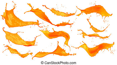 abstract orange color splash set