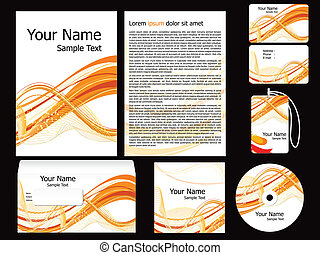 abstract orange corporate id template vector illustration