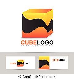 Abstract orange cube logo vector